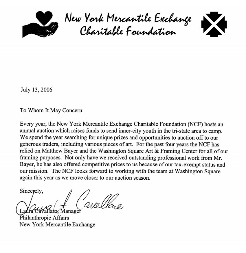 Letter of recommenation by Ny Mercantile Exchange Charitable Foundation for Washington Square Art Gallery